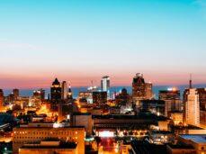 milwaukee-sunrise-birds-eye-view-high-rise-city-buildings